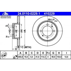 Комплект спирачни дискове ATE  - задна ос